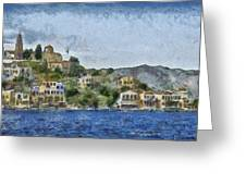 City By The Sea Greeting Card by Ayse Deniz