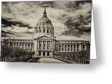 City Hall Antiqued Print Greeting Card