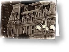 City Hall At Night Closeup Greeting Card