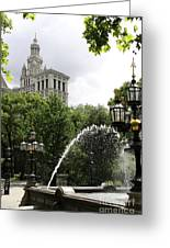 City Hall Park And Fountain Greeting Card