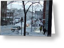 City In Snow Greeting Card