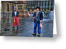 City Jugglers Greeting Card by Ron Shoshani