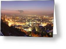 City Lit Up At Night, Esslingen Greeting Card