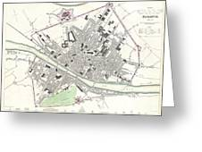 City Map Or Plan Of Florence Or Firenze Greeting Card