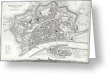 City Map Or Plan Of Frankfort Germany Greeting Card