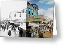 City - Ny - The Bowery 1900 - Side By Side Greeting Card