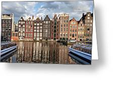 City Of Amsterdam At Sunset In Netherlands Greeting Card