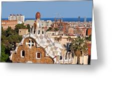 City Of Barcelona From Park Guell Greeting Card