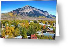 City Of Crested Butte Colorado Panorama   Greeting Card