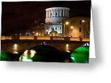 City Of Dublin At Night In Ireland Greeting Card
