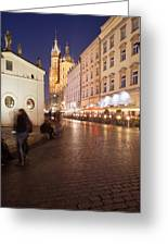 City Of Krakow By Night In Poland Greeting Card