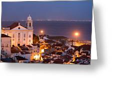 City Of Lisbon In Portugal At Night Greeting Card