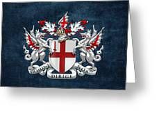 City Of London - Coat Of Arms Over Blue Leather  Greeting Card