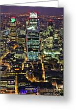 City Of London Skyline At Night Greeting Card