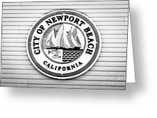 City Of Newport Beach Sign Black And White Picture Greeting Card