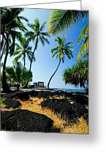 City Of Refuge - A View Of A Hawaiian Traditional House  Greeting Card