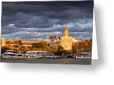 City Of Seville At Sunset Greeting Card