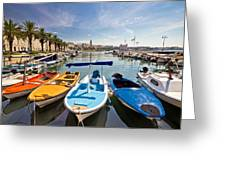 City Of Split Colorful Harbor View Greeting Card