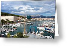 City Of Split Port In Croatia Greeting Card