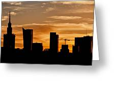 City Of Warsaw Skyline Silhouette Greeting Card