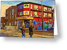 City Paint Benjamin Moore Rue Rachel And Hotel And De Ville Montreals Oldest Paint Store  C Spandau  Greeting Card
