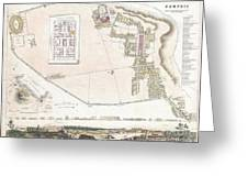 City Plan Or Map Of Pompeii Greeting Card