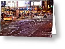 City Scene - Crossing The Street - The Lights Of New York Greeting Card