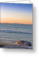 City Skyline And Flowing Water Greeting Card