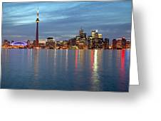 City Skyline At Dusk From Centre Greeting Card