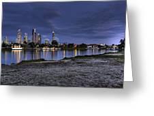 City Skyline At Night Greeting Card