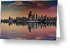 City Skyline Dusk Greeting Card by Bedros Awak