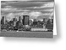 City - Skyline - Hoboken Nj - The Ever Changing Skyline - Bw Greeting Card