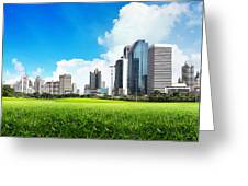 City Skyline Greeting Card by Potowizard Thailand