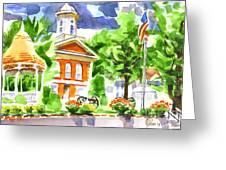 City Square In Watercolor Greeting Card