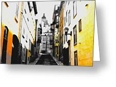 City Street Scene Black And Yellow Photograph Greeting Card