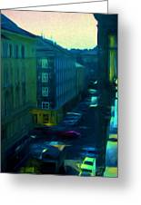 City Streets Digital Painting Greeting Card
