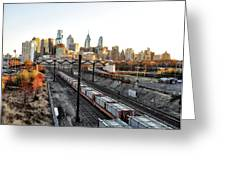 City Up The Tracks Greeting Card