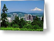 City With Mt. Hood In The Background Greeting Card