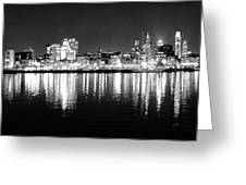 Cityscape In Black And White - Philadelphia Greeting Card