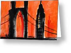 Cityscape Orange Greeting Card