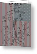 Civil War Revolver American Flag Greeting Card