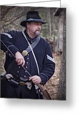 Civil War Union Soldier Reenactor Loading Musket Greeting Card