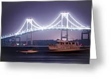 Claiborne Pell Bridge At Night Greeting Card