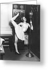Clair Luce Exercising On Radio Greeting Card