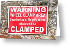 Clamping Sign Greeting Card