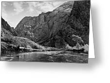 Clarks Fork River In Canyon Bw Greeting Card
