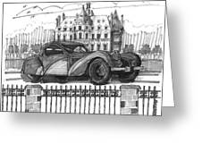 Classic Auto With Chateau Greeting Card