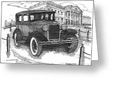 Classic Auto With Mills Mansion Greeting Card