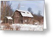 Classic Barn In Snow Greeting Card