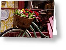 Classic Bicycle With Tulips Greeting Card